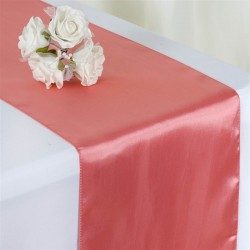 Chemin de table mariage satin rose quartz