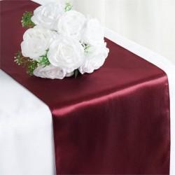 Chemin de table mariage satin bordeaux