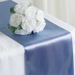 Chemin de table mariage satin bleu gris