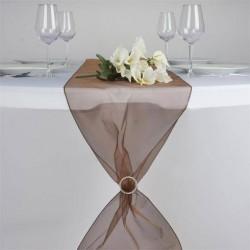 Chemin de table organza chocolat