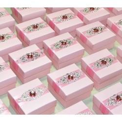 Boite à dragées broche rose