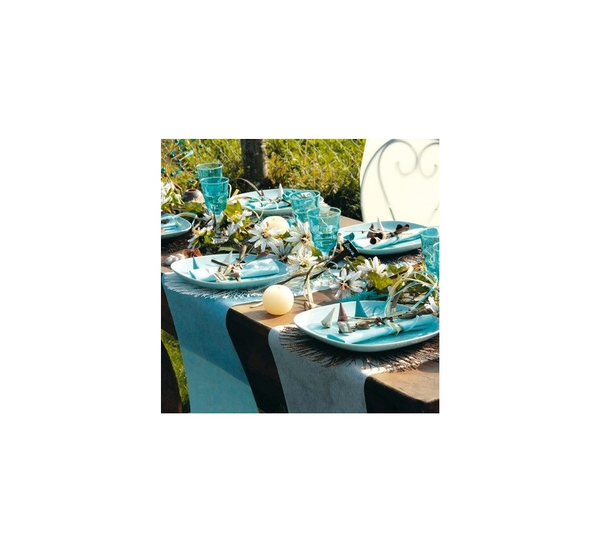 chemin de table intiss turquoise les couleurs du mariage mariage et r ception. Black Bedroom Furniture Sets. Home Design Ideas