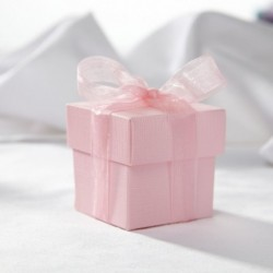 Boite à dragées carrée rose pale