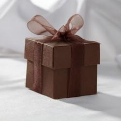 Boite à dragées carrée chocolat
