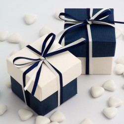 Boite à dragées bleu marine et blanc (par 10)