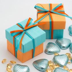 Boite à dragées bleu et orange ( par 10)