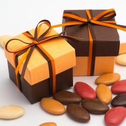 Boite à dragées chocolat et orange ( par 10)