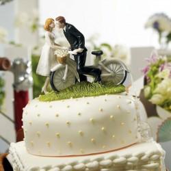 Figurine mariés à bicyclette