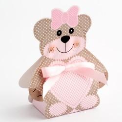 Boite à dragées ours Teddy rose