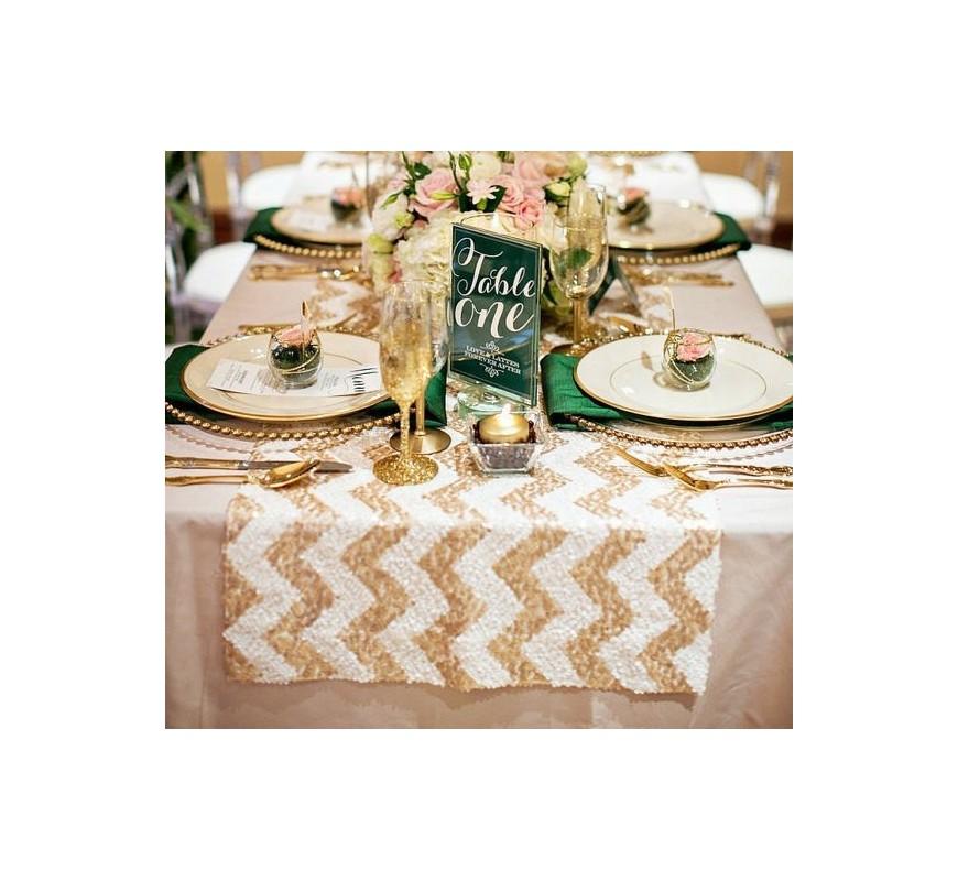 Chemin de table chevron sequin champagne les couleurs du for Le chemin de table