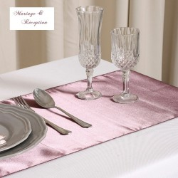 Chemin de table satin mauve