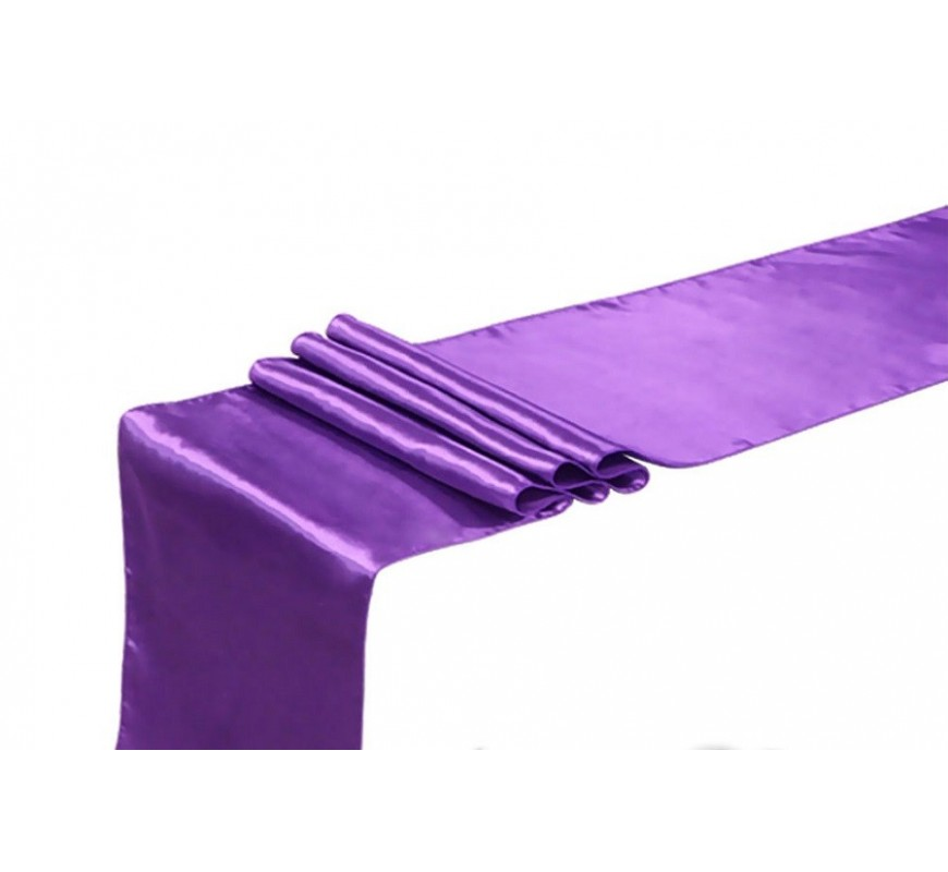 chemin de table satin violet les couleurs du mariage. Black Bedroom Furniture Sets. Home Design Ideas