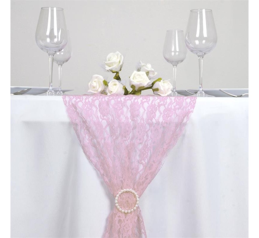chemin de table en dentelle rose les couleurs du mariage. Black Bedroom Furniture Sets. Home Design Ideas