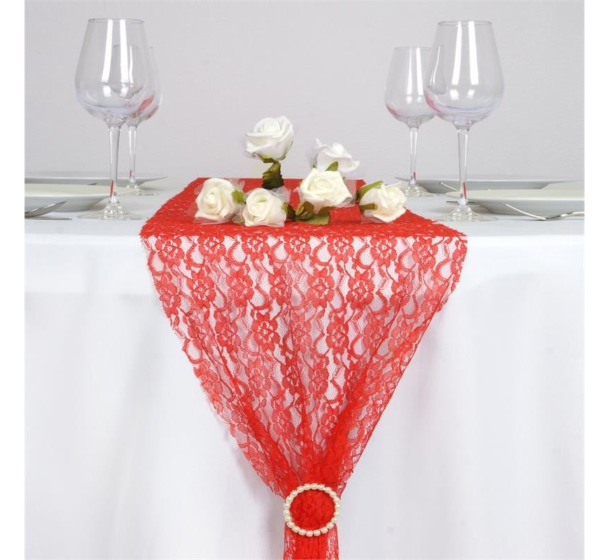 Chemin de table en dentelle rouge les couleurs du for Chemin de table rouge