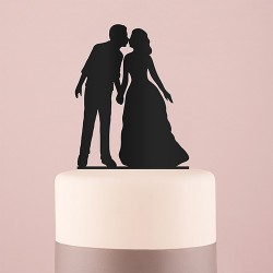 Figurine silhouette mariés doux baisers