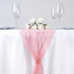 Chemin de table en dentelle rose quartz