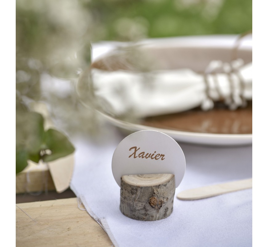 Marque place rondin de bois les couleurs du mariage - Porte bougie en bois ...