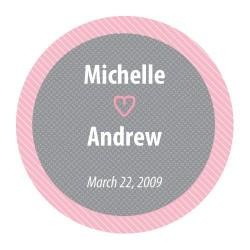 Sticker personnalisé gris et rose