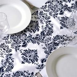 Chemin de table baroque bleu marine et blanc