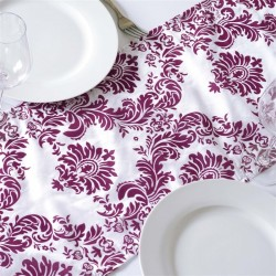 Chemin de table baroque prune et blanc