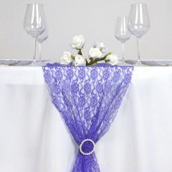 Chemin de table en dentelle bleu roi