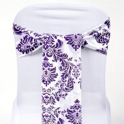 Noeud de chaise mariage baroque violet et blanc