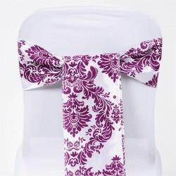 Noeud de chaise mariage baroque prune et blanc