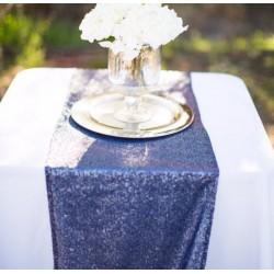 Chemin de table mariage sequin bleu marine