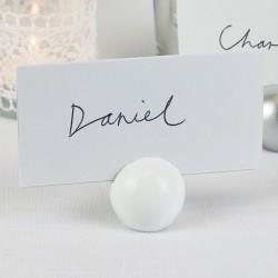 Porte étiquette boule blanche