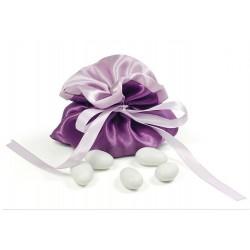 Bourse à dragées satin parme et violet