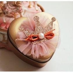Boite à dragées coeur princesse or