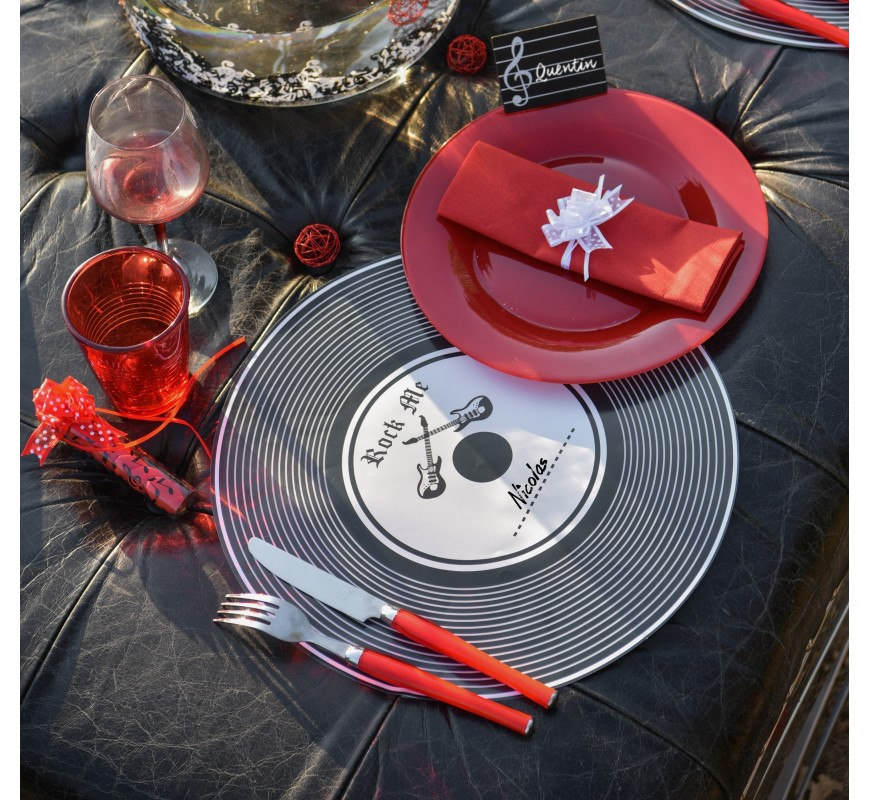 set de table disque vinyle par 5 les couleurs du mariage. Black Bedroom Furniture Sets. Home Design Ideas