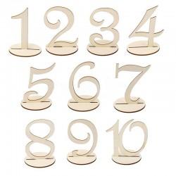 Numéro de table en bois x 10
