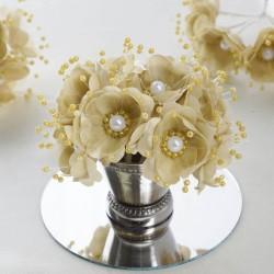 Bouquet de fleurs en tissu champagne