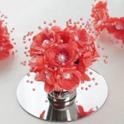 Bouquet de fleurs en tissu corail
