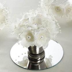 Bouquet de fleurs en tissu ivoire
