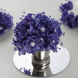 Bouquet de fleurs en tissu violet