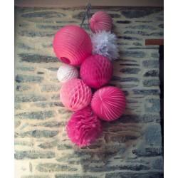 Lampion accordéon rose fuchsia