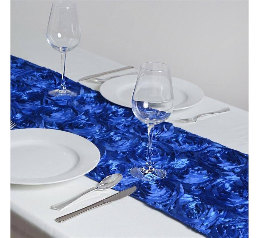 chemin de table rosette bleu roi les couleurs du mariage. Black Bedroom Furniture Sets. Home Design Ideas