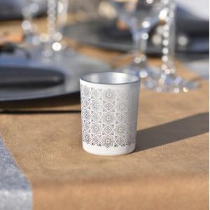 Photophore carreau de ciment argent