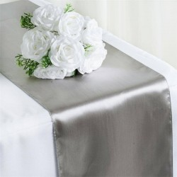 Chemin de table mariage satin argent