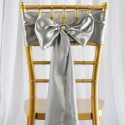 Noeud de chaise mariage satin gris