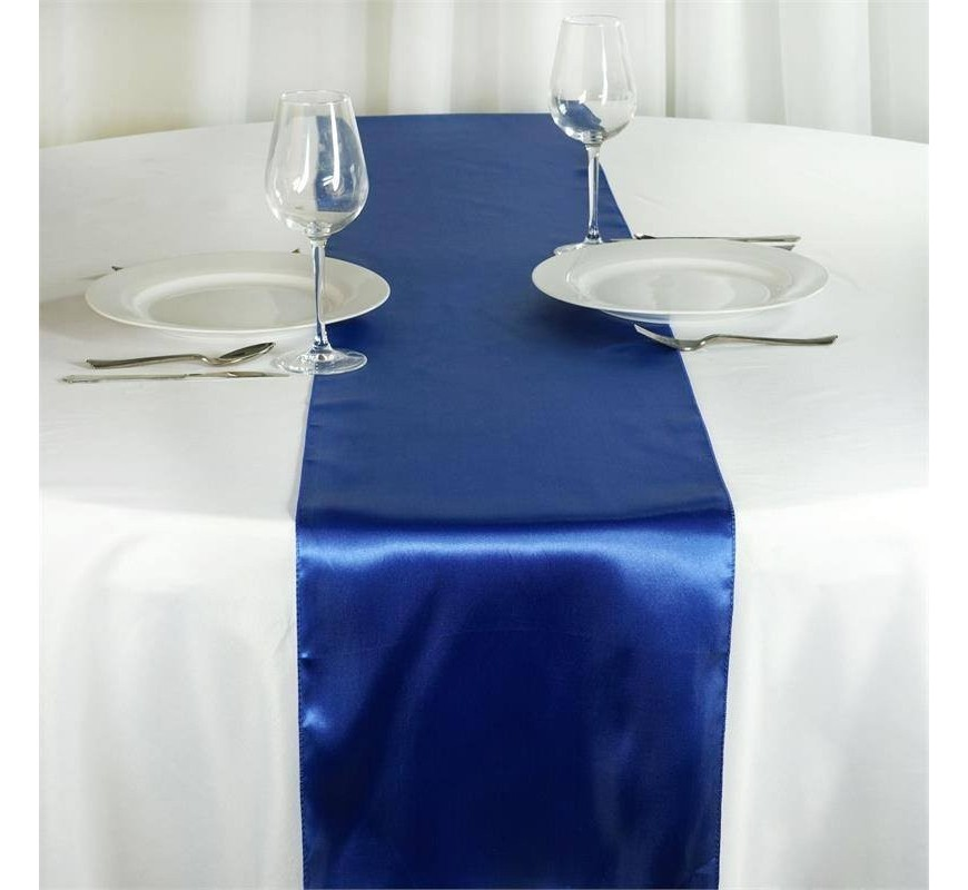 chemin de table satin bleu roi les couleurs du mariage. Black Bedroom Furniture Sets. Home Design Ideas