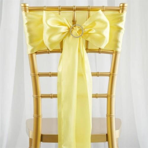 Noeud de chaise satin jaune pale les couleurs du mariage mariage et r ception - Noeud de chaise en satin ...