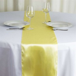 Chemin de table mariage satin jaune