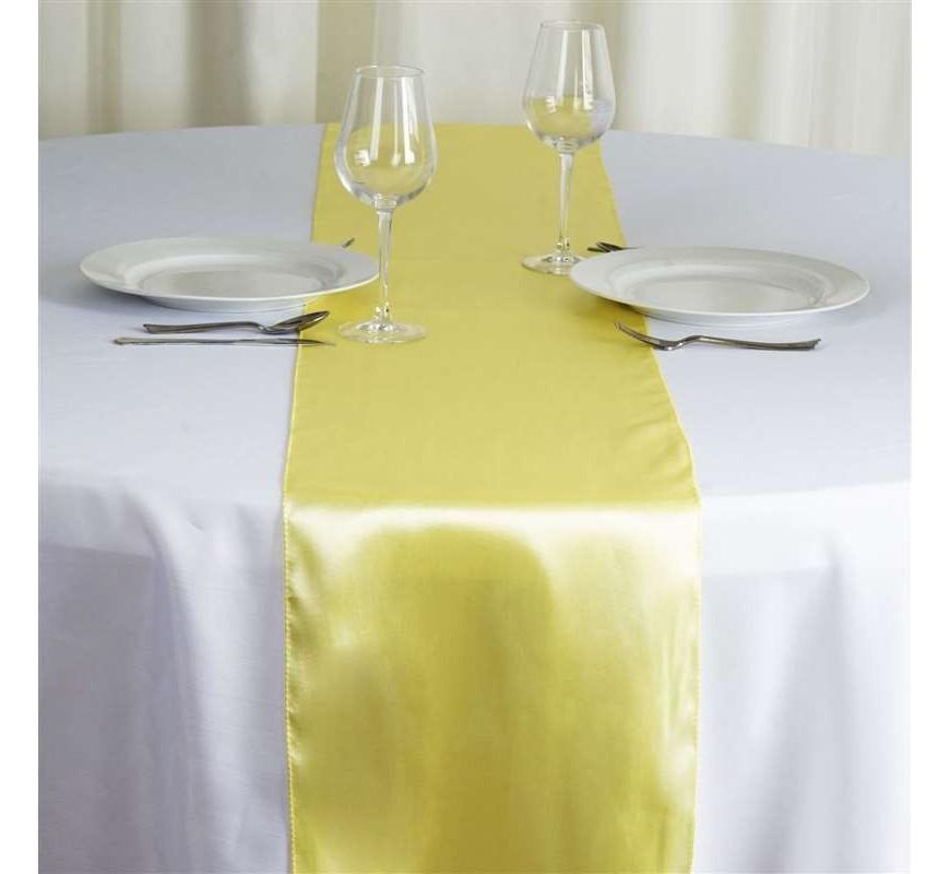 chemin de table mariage satin jaune pale les couleurs du. Black Bedroom Furniture Sets. Home Design Ideas