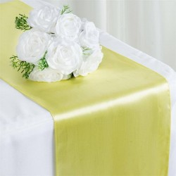 Chemin de table mariage satin jaune pale