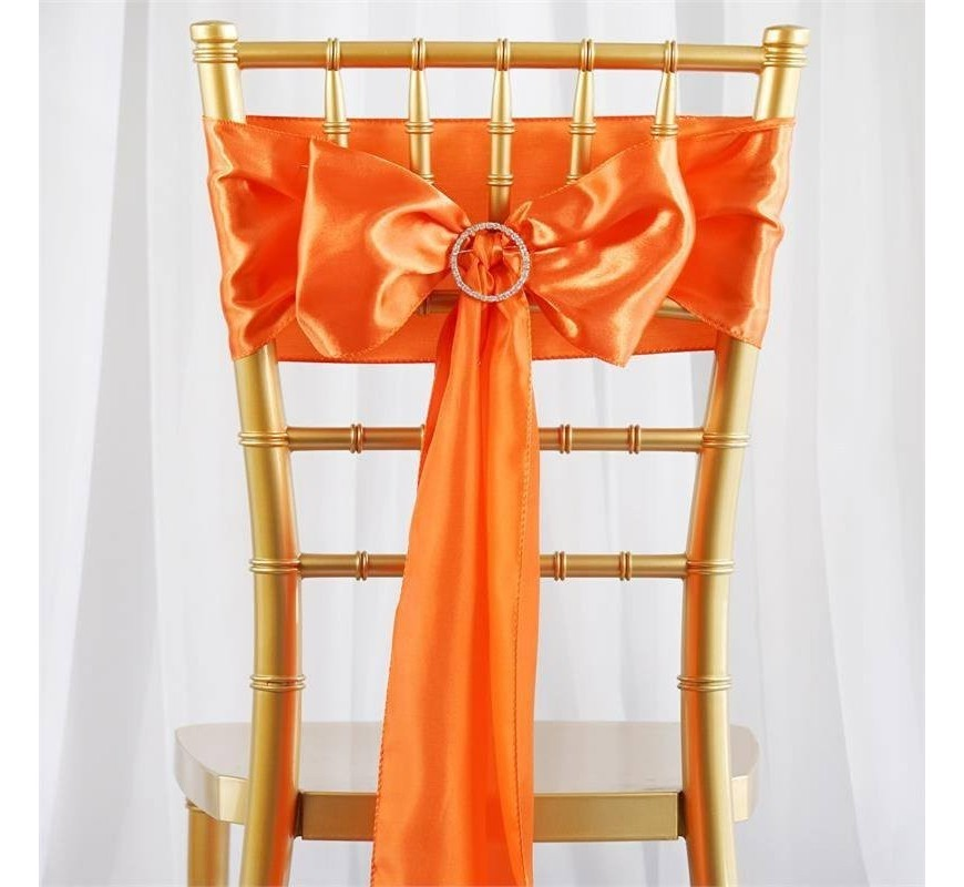 Noeud de chaise satin orange les couleurs du mariage mariage et r ception - Noeud de chaise en satin ...