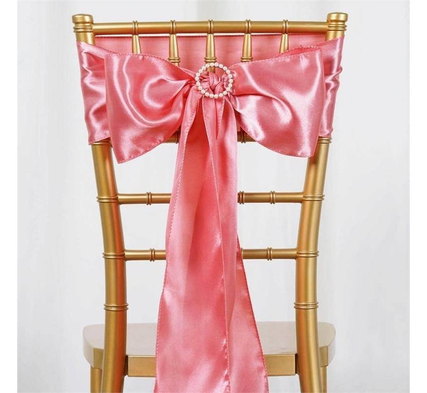 Noeud de chaise satin rose quartz les couleurs du - Noeud de chaise en satin ...