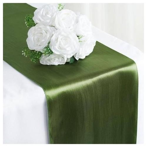 Chemin de table satin vert olive